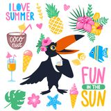 Bright summer stickers collection. Vector summer set with cartoon toucan, monstera, tropical leaves, coconut, ice cream, pineapple, cocktails, fish, exotic Royalty Free Stock Photos