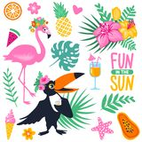Bright summer stickers collection. Vector summer set with cartoon toucan, monstera, tropical leaves, coconut, ice cream, pineapple, cocktails, fish, exotic Stock Photo