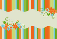 Bright summer striped background with flowers Royalty Free Stock Photo