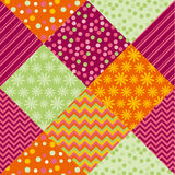 Bright summer style fabric pattern samples. Simple cute polka dot and floral patchwork  motif Stock Photos