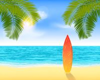 Bright summer vacation background with plage and palms royalty free illustration
