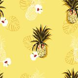Bright summer Vector seamless pattern with colorful pineapples and hibiscus flowers mixed with line ahnd drawn style design for royalty free illustration