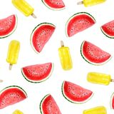 Bright summer watercolor pattern of skins of watermelon and ice cream stock illustration