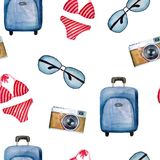 Bright summer watercolor pattern of a suitcase, sun glasses, camera, swimsuit royalty free illustration