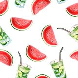 Bright summer watercolor pattern of watermelon and mojito cocktails stock illustration