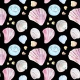 Colorful seamless shell pattern on black vector illustration