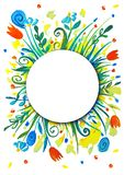 Bright summer wreath. Flowers, sunbeams, summer. royalty free illustration