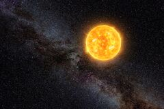 Free Bright Sun Against Dark Starry Sky And Milky Way In Solar System Royalty Free Stock Image - 214646726