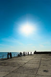 Bright sun on blue sky. Stock Photography