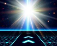 Bright sun burst. Fantasy cosmic background. Vector image stock illustration