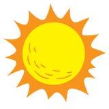 Bright Sun Cartoon. Vector illustration of bright sun isolated on white in cartoon style stock illustration