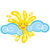 The bright sun in the clouds. The sun with a smiling face in the clouds Royalty Free Stock Image