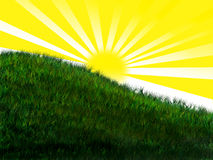 Bright sun on grassy hill Royalty Free Stock Images