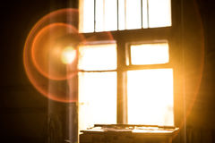 Bright sun halo. Out of the window Royalty Free Stock Photo