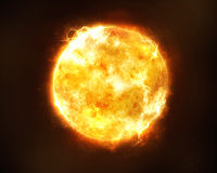 Bright sun. Bright and hot orange sun on a black space background royalty free stock images