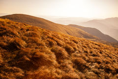 Bright sun in mountains Stock Photography