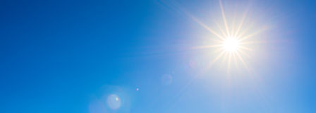 Bright Sun On Blue Sky Royalty Free Stock Image