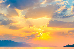 Bright sun orange rises Stock Images