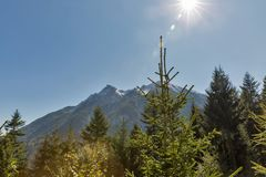 Bright sun over Alpine landscape in Western Carinthia, Austria. Royalty Free Stock Photo