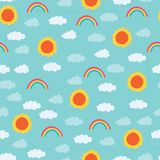 Bright sun, rainbow, clouds pattern. A playful, modern, and flexible pattern for brand who has cute and fun style. Repeated pattern. Happy, bright, and magical Stock Image