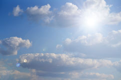 Bright Sun Shines Among The Dark Clouds Royalty Free Stock Photos