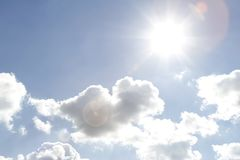Sky. Bright sun shining in clouds Royalty Free Stock Photo