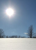 Bright sun shining on a snowy field Royalty Free Stock Photo