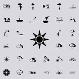 Bright sun sign icon. Detailed set of Weather  icons. Premium quality graphic design sign. One of the collection icons for website. S, web design, mobile app on Royalty Free Stock Photos