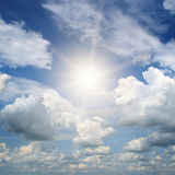 Bright sun in sky Stock Images