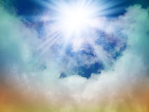 Bright sun in the sky. With cumulus clouds. Closeup Royalty Free Stock Image