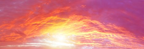 Bright sun in sky. Sunlight in warm summer sky Royalty Free Stock Images