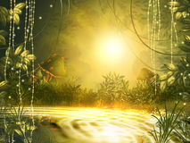Bright sun at sunset reflected in the lake, creates a mysterious Royalty Free Stock Photo