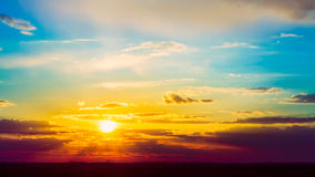 Bright Sun, Sunset, Sunrise. Colorful Blue and Stock Images
