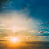 Bright Sun, Sunset, Sunrise. Colorful Blue, Yellow Sky Royalty Free Stock Photography