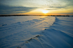 Bright sun  sunset  winter with  road and  footprints in the snow. Royalty Free Stock Photos