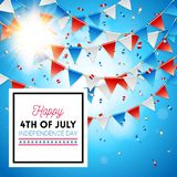 Bright sun on a 4th July Independence Day card. Bright sunburst on a 4th July Independence Day greeting card with patriotic American red, white and blue bunting royalty free illustration