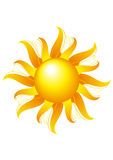 Bright sun on a white background Royalty Free Stock Photos