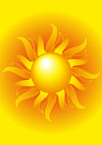 Bright sun on a yellow background Stock Images