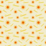 Bright sun with yellow text summer, on light yellow background. Vector seamless pattern. Cartoon style