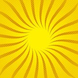 Yellow sunbeams halftone background. Vector illustration. Bright sunbeams background with yellow dots. Abstract background with halftone dots design. Vector Royalty Free Stock Photos