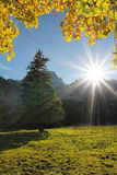 Bright sunburst, autumnal landscape karwendel, austria Royalty Free Stock Images