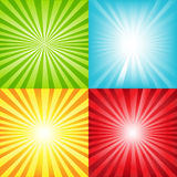 Bright Sunburst Background With Beams. Vector. 4 Bright Sunburst Background With Beams And Stars, Vector Illustration Royalty Free Stock Photo