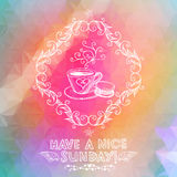 Bright Sunday greeting card with coffee cup Royalty Free Stock Photography