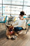 Curly stylish woman wearing bright sunglasses feeding her dog. Bright sunglasses. Curly stylish woman wearing bright sunglasses feeding her dog with red heart stock images