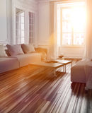 Bright sunlight streaming into a living room. Interior with a parquet floor and couch through a large window with lens flare effect Stock Images