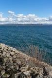 Bright Sunny Day in Lake Neuchatel stock photography
