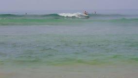 A blue wave runs across the ocean. stock footage