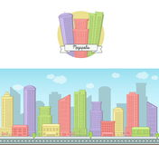 Bright sunny day vector background and icon of a modern big city downtown skyscraper house skyline for web and games. Stock Images
