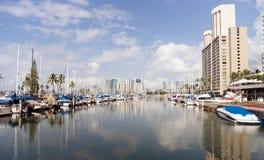 Bright Sunny Day Waikiki Ala Wai Boat Harbor Honolulu Haiwaii Royalty Free Stock Photography