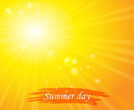 Bright sunny days sunset sky orange background for Royalty Free Stock Images